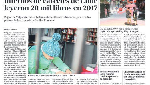 Artículo en La Tercera celebra que internos leyeron más de 20.000 libros durante 2017